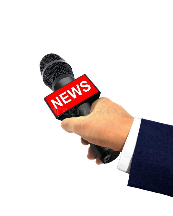 Reporter Hand Holding Microphone stock photo