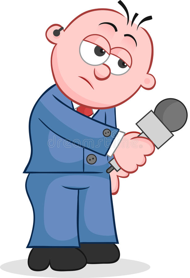 Reporter Holding Microphone. Cartoon reporter standing and holding microphone vector illustration