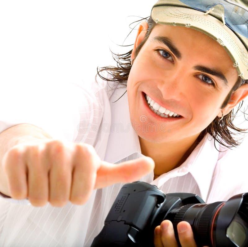 Reporter mit Kamera stockfoto