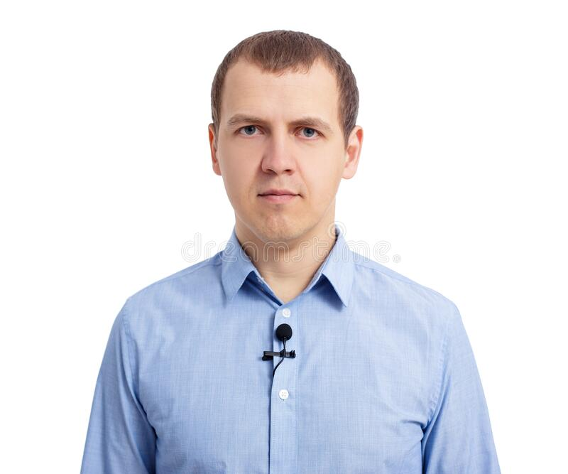 Reporter or newscaster with small lavalier microphone on his shirt isolated on white royalty free stock images