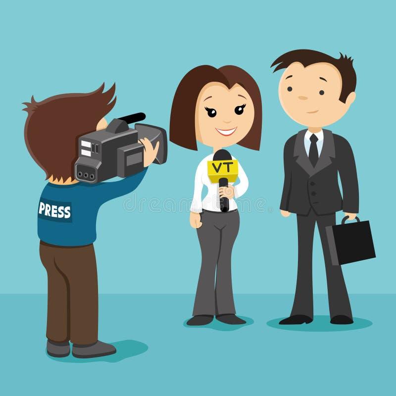 Reporter przeprowadza wywiad biznesmena royalty ilustracja