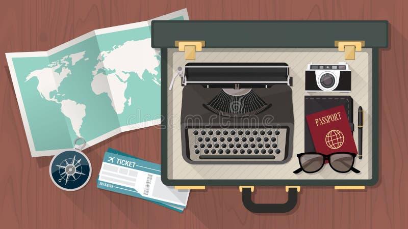 Reporter resväska med skrivmaskinen royaltyfri illustrationer