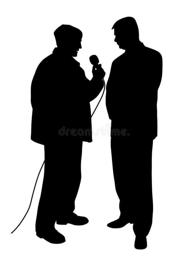 Reporter som frågar en fråga till en affärsman royaltyfri illustrationer