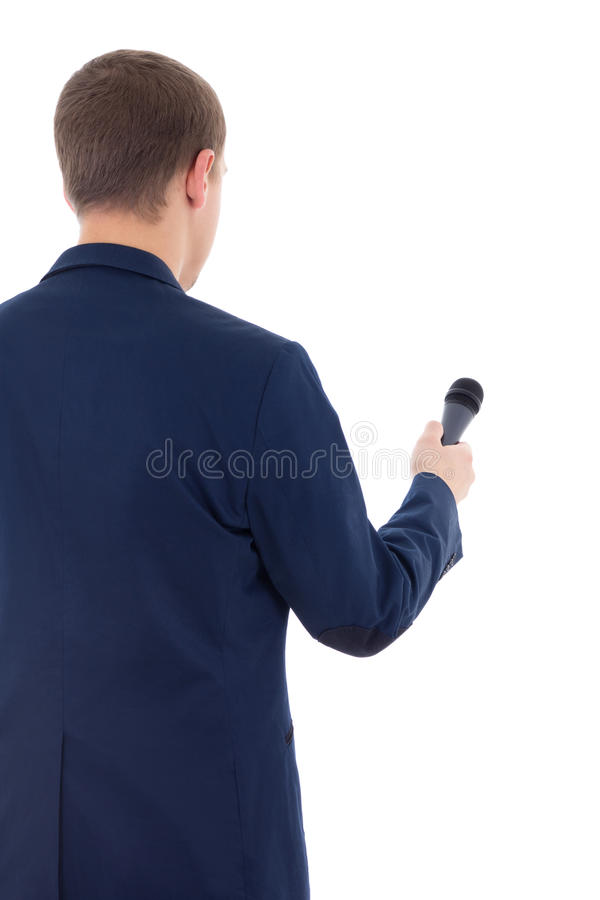 Reporter in suit holding microphone isolated on white background stock photos