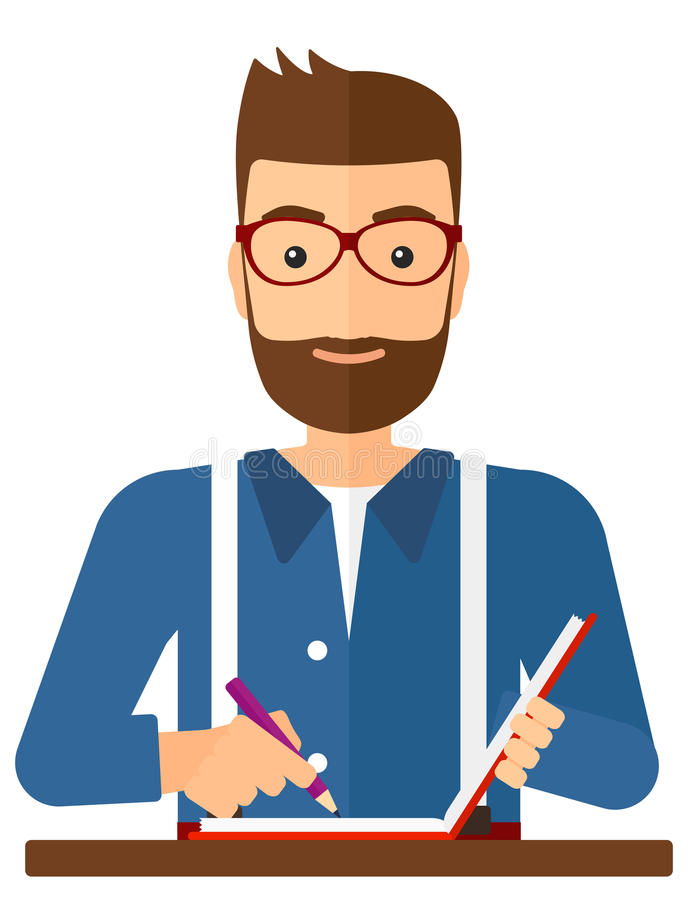 Reporter with writing-pad vector illustration