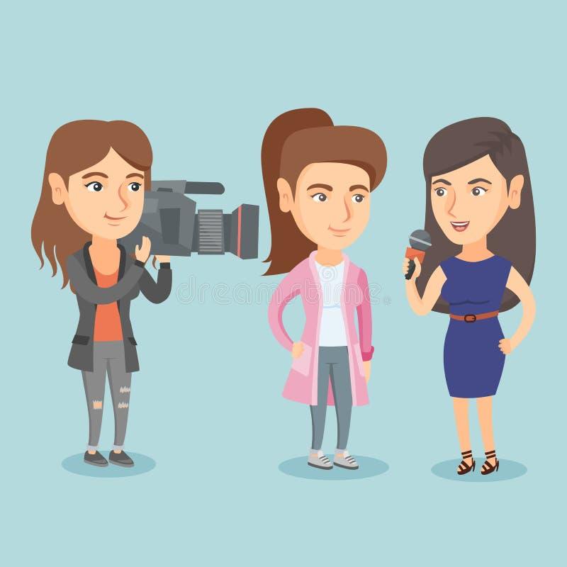 Reporter z mikrofonem przeprowadza wywiad kobiety ilustracji