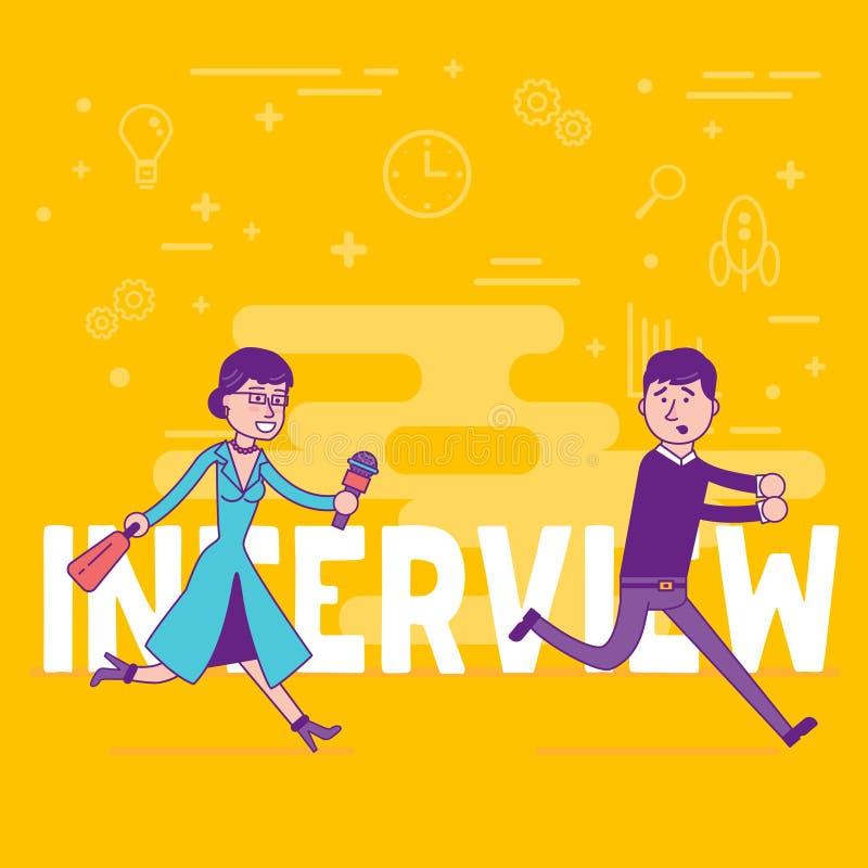 Reportero de la mujer con el micrófono que intenta conseguir entrevista con el youn libre illustration