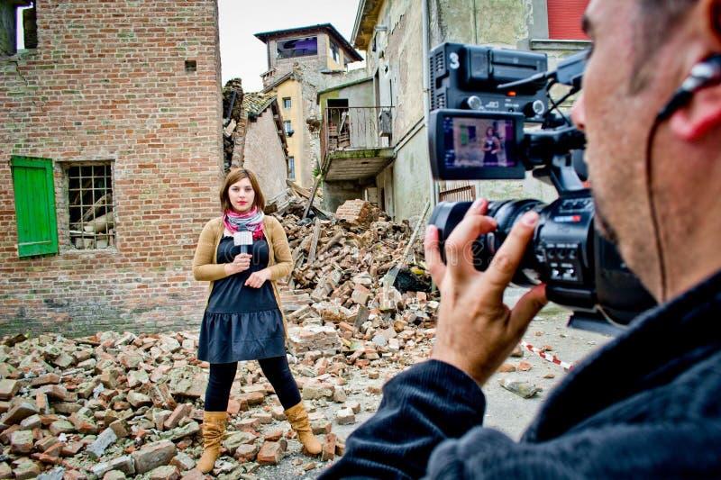 Reportero de la TV foto de archivo