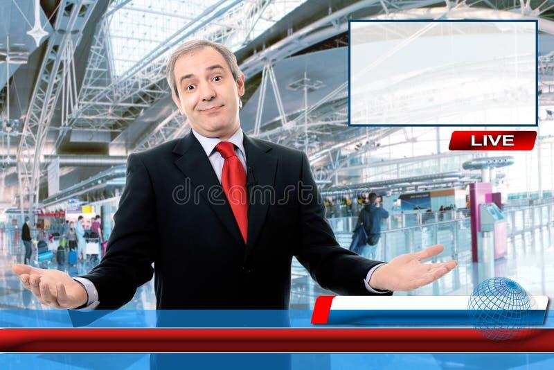 Reportero de las noticias de la TV foto de archivo libre de regalías