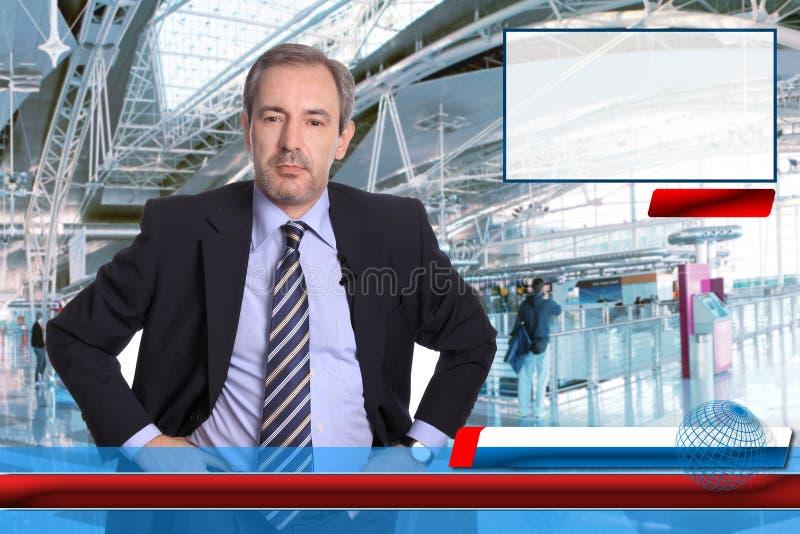 Reportero de las noticias de la TV fotografía de archivo libre de regalías