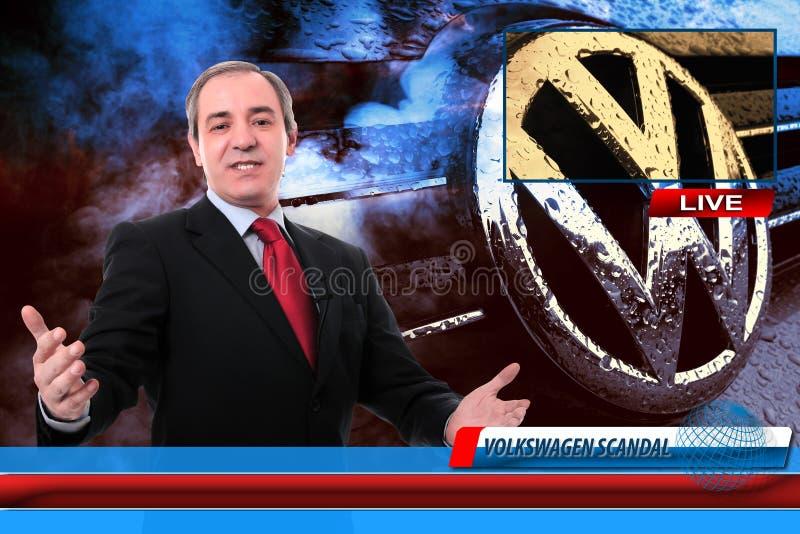 Reportero de las noticias de la TV en escándalo del fraude de Volkswagen fotografía de archivo