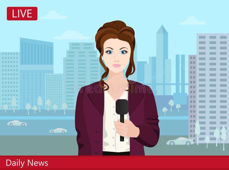 Reportero hermoso de las noticias de la mujer joven TV en la calle ilustración del vector