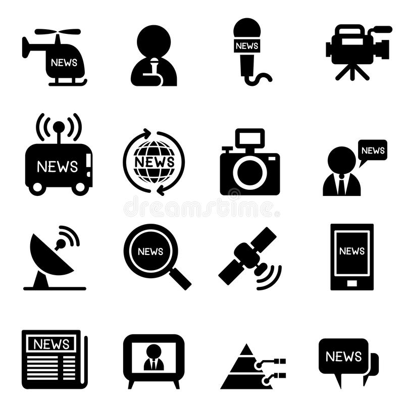 Reportero Icons de las noticias stock de ilustración