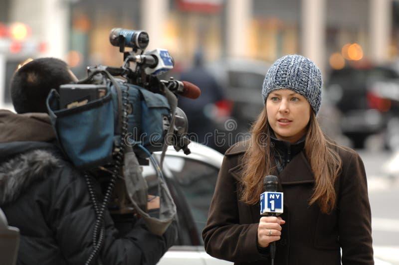 Reportero NY1 imagenes de archivo