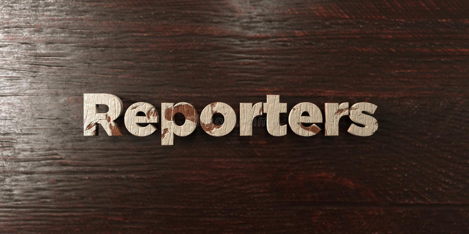 Reporters - grungy wooden headline on Maple - 3D rendered royalty free stock image. This image can be used for an online website banner ad or a print postcard stock illustration