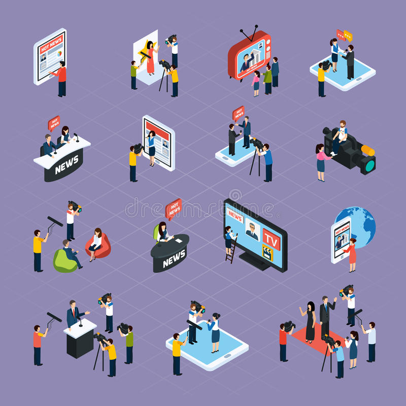 Reporters Isometric Icons Set royalty free illustration