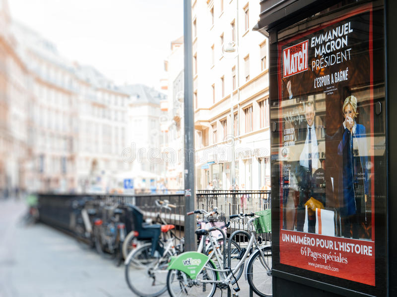 Reporting handover ceremony presidential inauguration of Emmanuel Macron. STRASBOURG, FRANCE - MAY 15, 2017: French city press kiosk with Paris Match magazine stock images