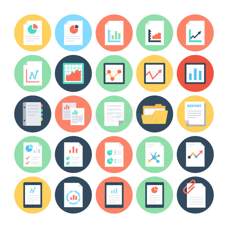 Reports and Analytics Colored Vector Icons 2 royalty free illustration