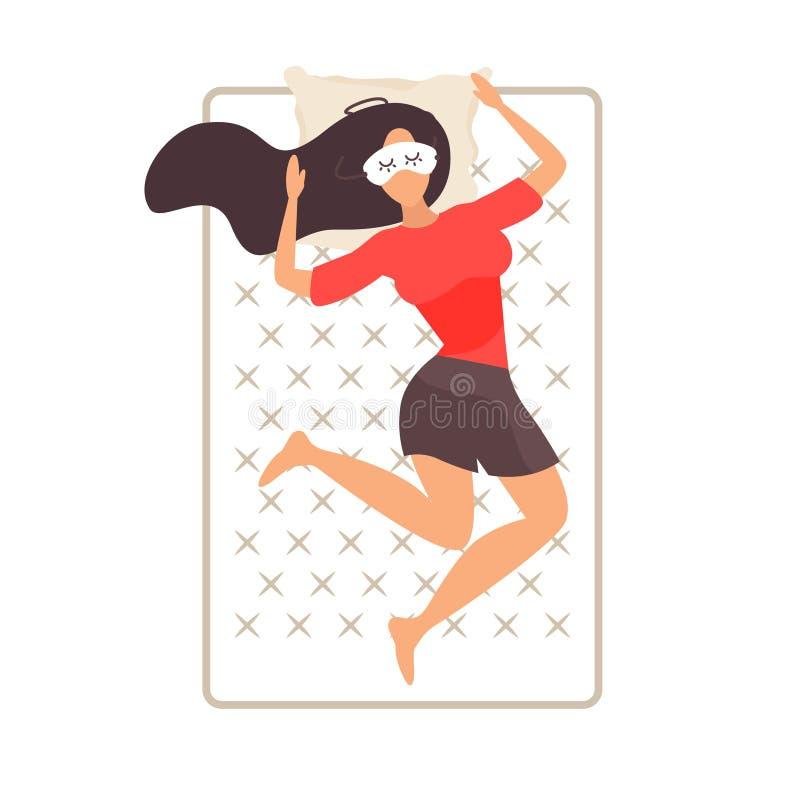 Repos de jeune fille dans le lit Illustration de vecteur illustration de vecteur