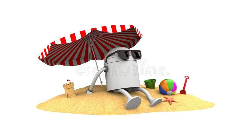 Repos de robot sur la plage illustration libre de droits