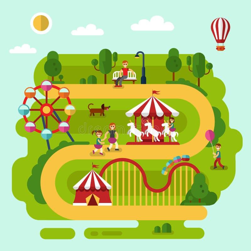 Repos en parc d'attractions illustration libre de droits