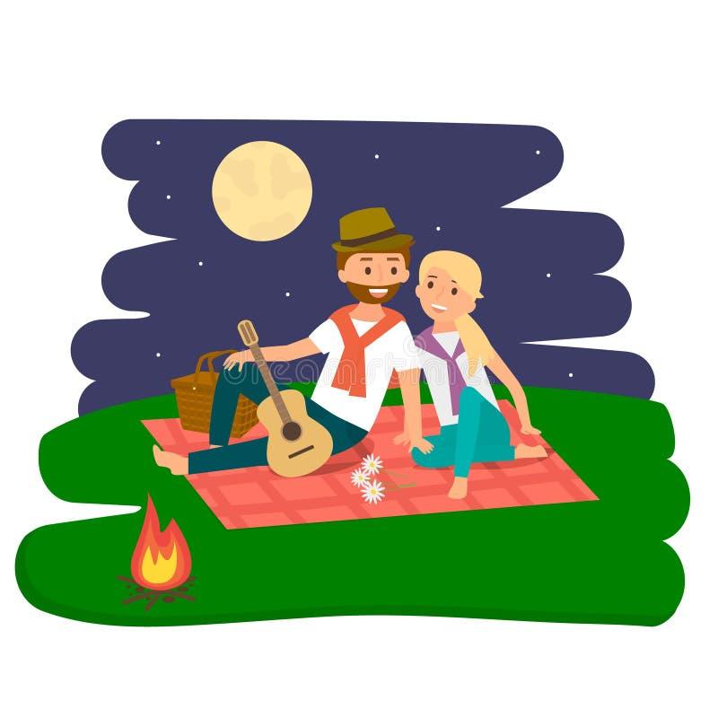 Repos heureux de pique-nique de famille Jeunes couples à l'extérieur Pique-nique de famille d'été Illustration de vecteur illustration libre de droits