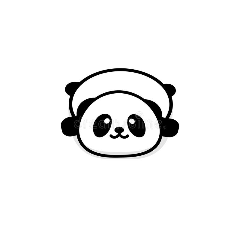 Repos vaillant mignon de panda se trouvant vers le bas illustration de vecteur, logo d'ours de bébé, nouveau schéma, noir chinois illustration stock