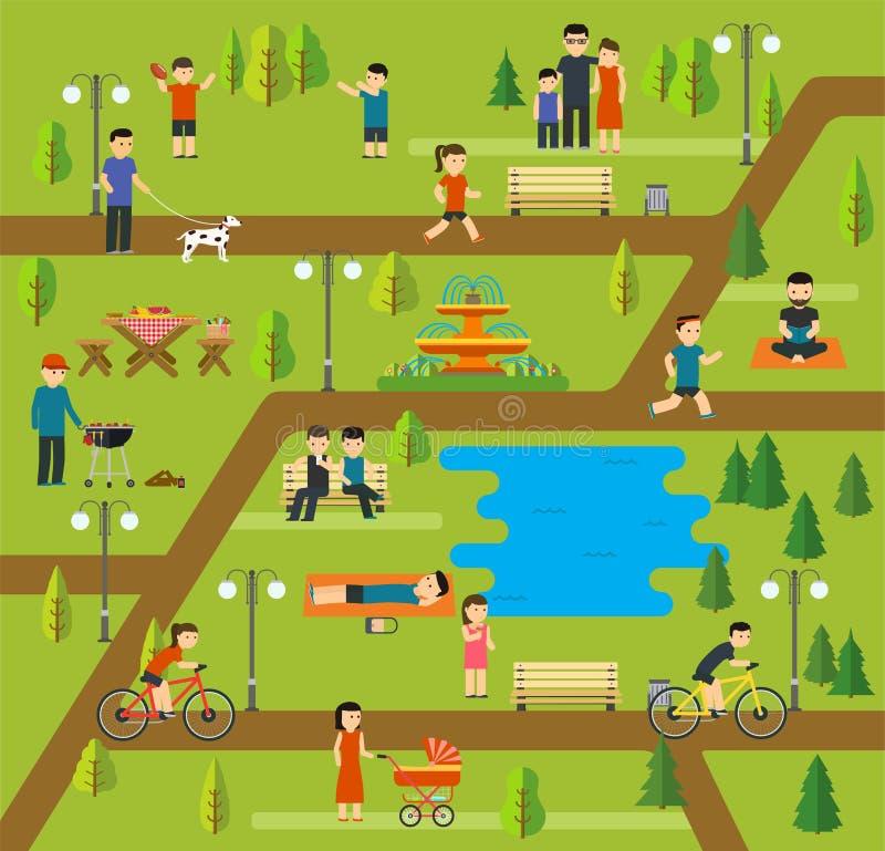 Reposez-vous en parc public, campant en parc, pique-nique, en faisant du vélo, en marchant le chien en parc, des sessions de yoga illustration libre de droits