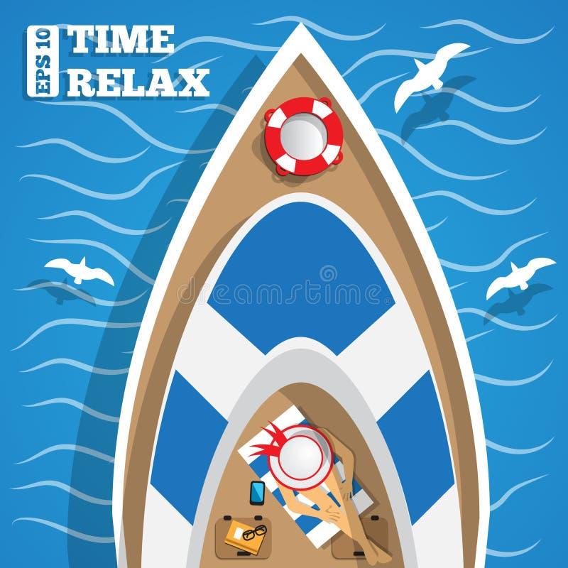 Reposez-vous sur le yacht illustration stock