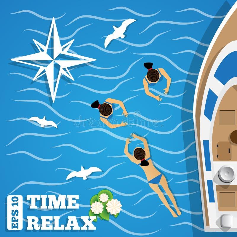 Reposez-vous sur le yacht illustration libre de droits