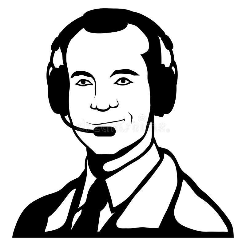 Représentant de service client, centre d'appels, icône de service client, opérateur de télécommunication, assistant en ligne, cli illustration stock