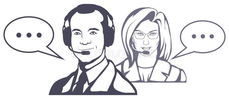 Représentant de service client, centre d'appels, icône de service client, opérateur de télécommunication, assistant en ligne, cli illustration libre de droits