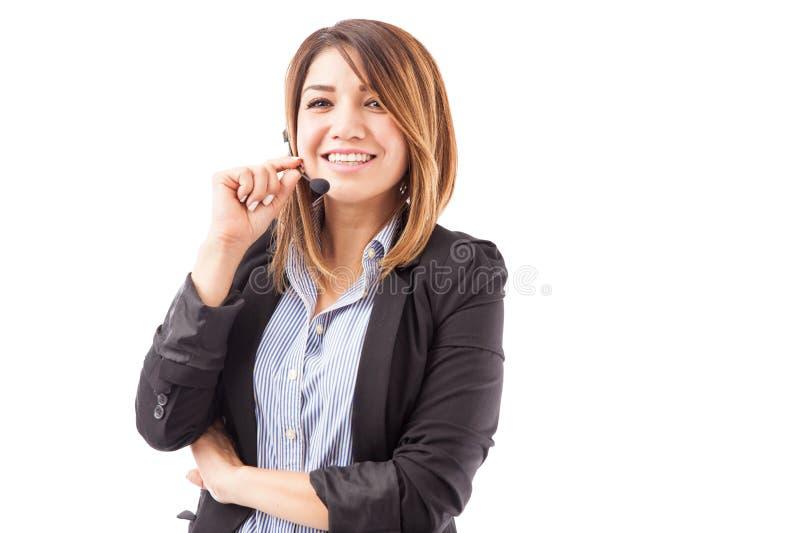 Représentant mignon de service client photo stock