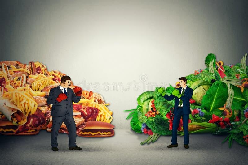 Représentant végétarien de nourriture combattant le type malsain de nourriture grasse d'ordure avec des gants de boxe illustration libre de droits