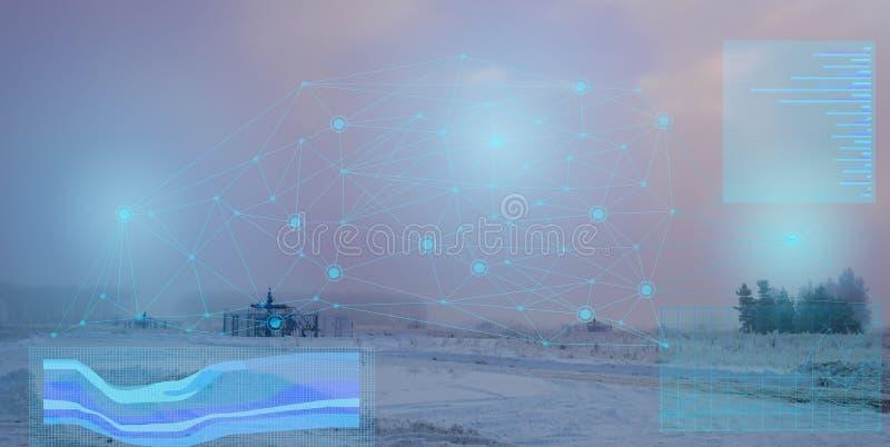 Représentation abstraite d'une maîtrise des puits sans fil de production de gaz Augmentez l'efficacité et réduisez l'usage d'équi images stock