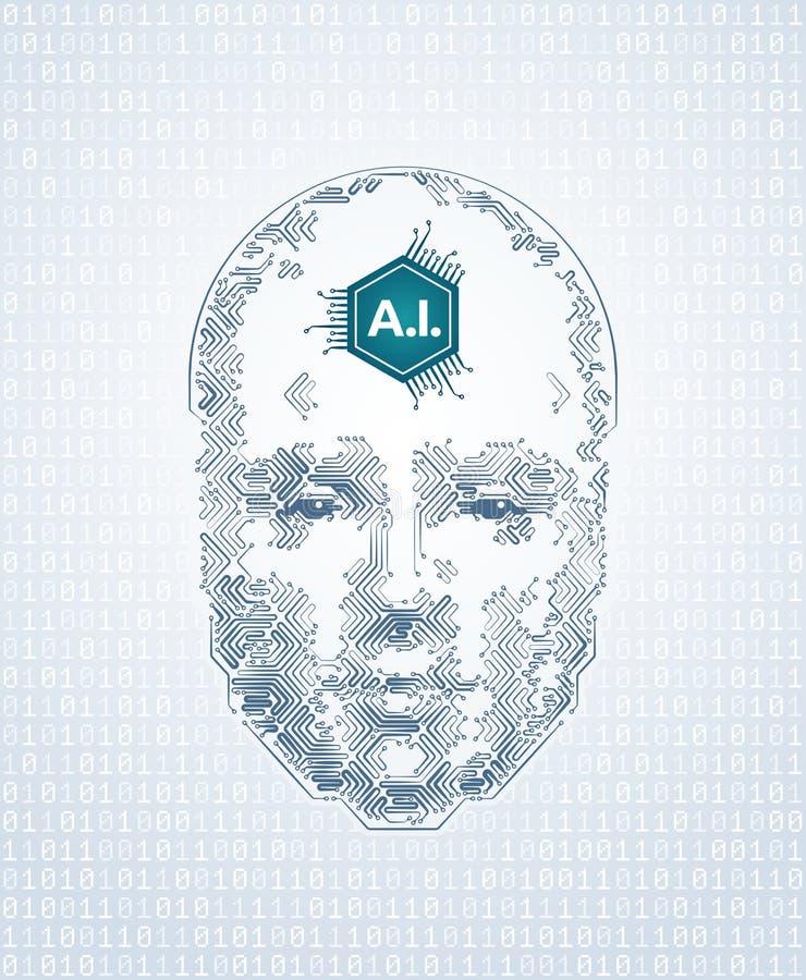 Représentation artistique d'intelligence artificielle illustration stock