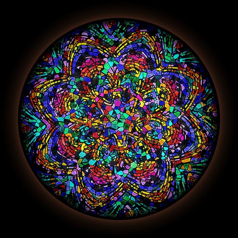 Représentation colorée dans le style de vitrail gothique avec cadre rond Ornement floral abstrait illustration stock