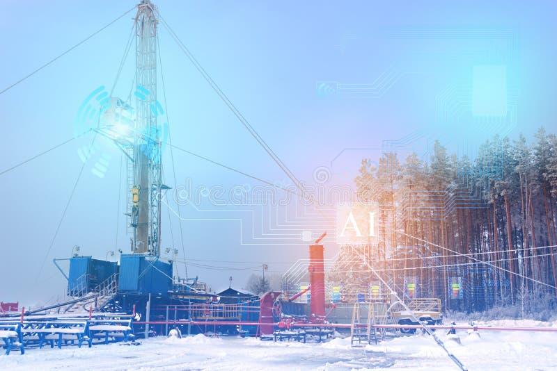 Représentation conceptuelle des futures technologies, l'utilisation de l'intelligence artificielle pour la révision d'un puits de photographie stock