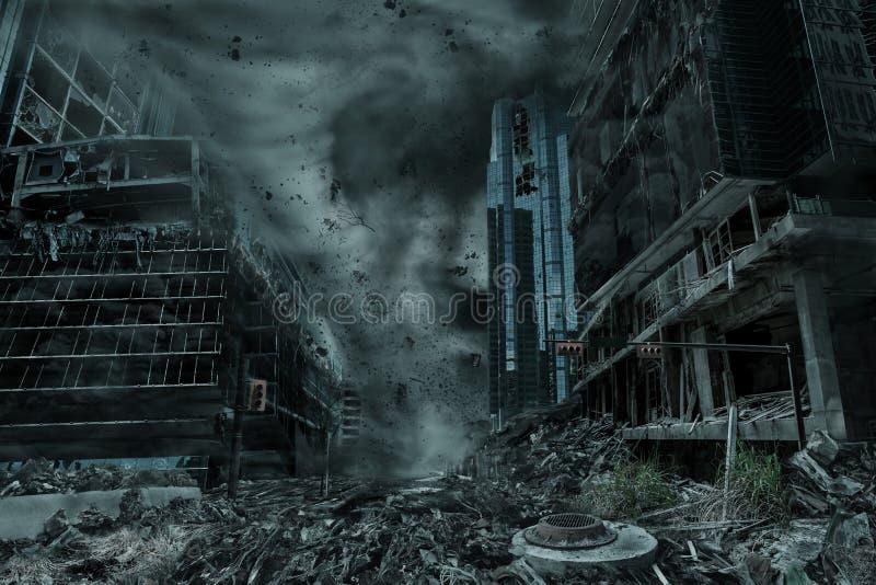 Représentation d'une ville détruite par ouragan, ouragan ou tornade images stock