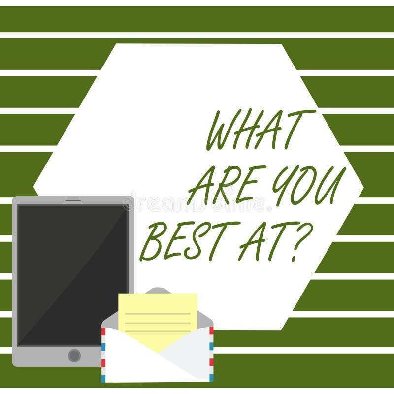 Représentation de note d'écriture ce qui sont vous meilleur Atquestion La photo d'affaires présentant la créativité individuelle  illustration de vecteur