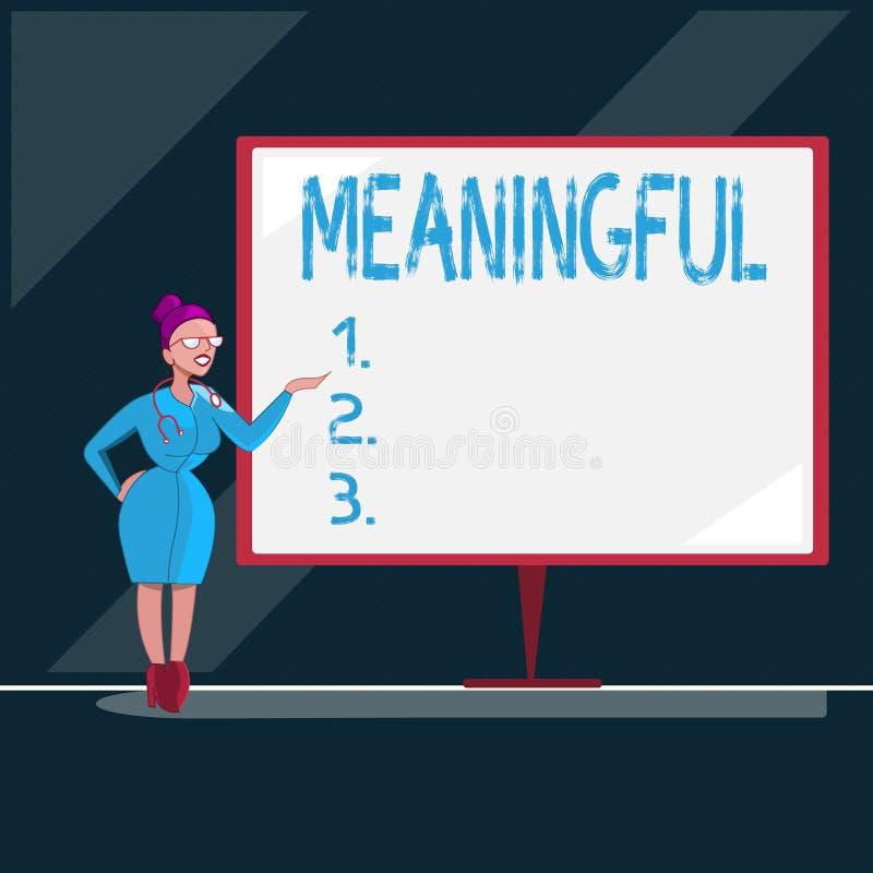 Représentation de note d'écriture signicative Photo d'affaires présentant ayant signifier utile important approprié significatif illustration de vecteur