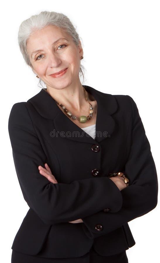 Représentation de plan rapproché de femme d'affaires aînée photos stock