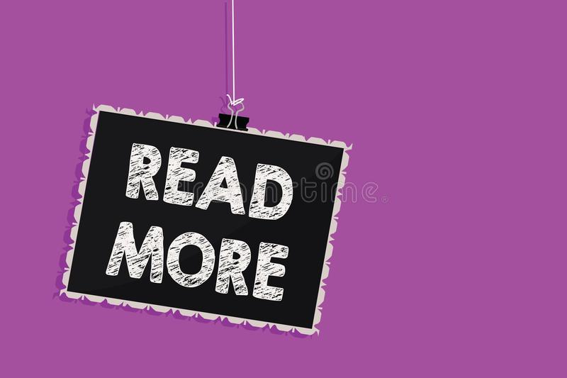 Représentation de signe des textes lue la suite La photo conceptuelle fournissent plus d'heure ou de lecture complète pour accroc illustration stock