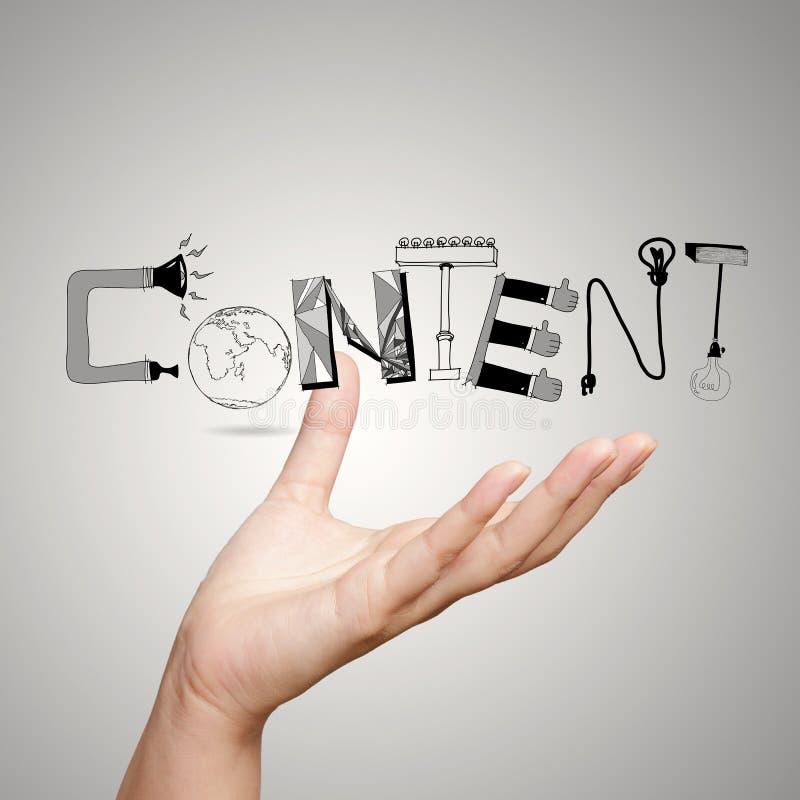 Représentation du mot CONTENU de conception comme concept photographie stock