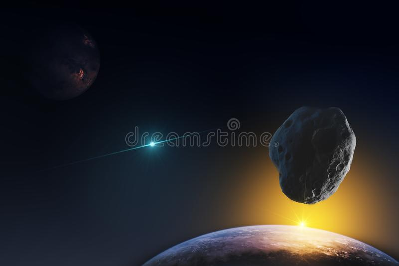Représentation fantastique des planètes dans l'espace infini de l'univers et des rayons du Soleil Levant Éléments de cet ima images libres de droits
