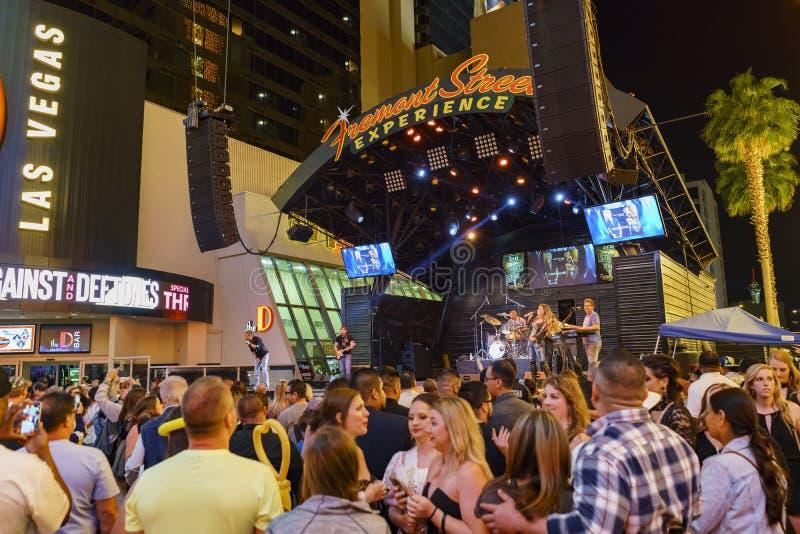 Représentation sur la 3ème étape de rue, Las Vegas du centre photos stock