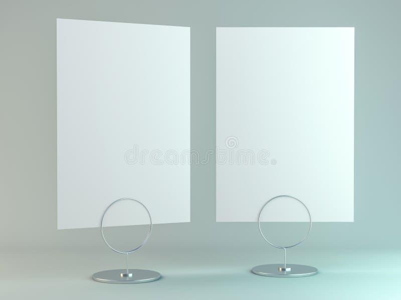 Représentez des livrets avec les feuilles de papier blanches Maquette 3d illustration stock