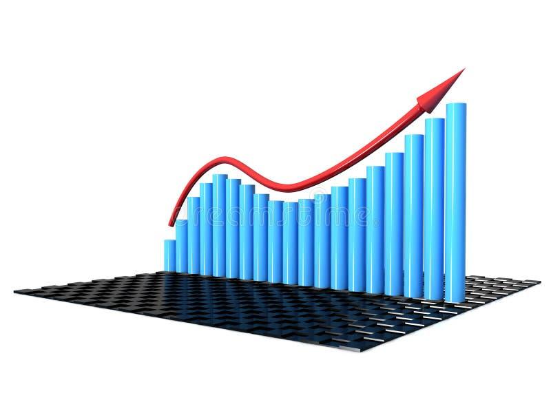 Représentez graphiquement l'accroissement du cylindre bleu â1 illustration de vecteur