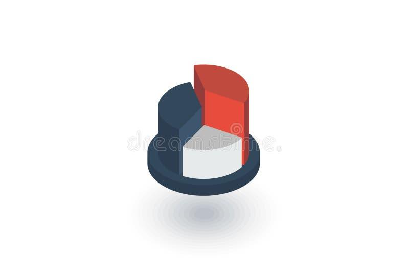 Représentez graphiquement le diagramme, icône plate isométrique de diagramme de tarte vecteur 3d illustration stock