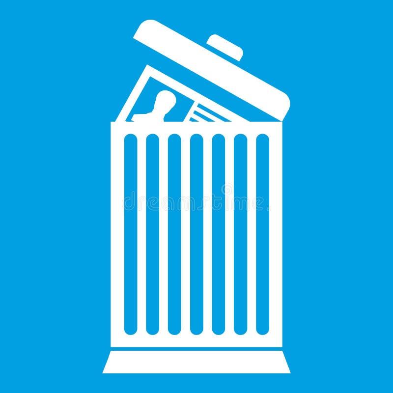 Reprenez jeté dans le blanc d'icône de poubelle illustration stock